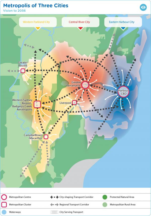 Figure 16: Vision for Greater Sydney as a metropolis of three cities