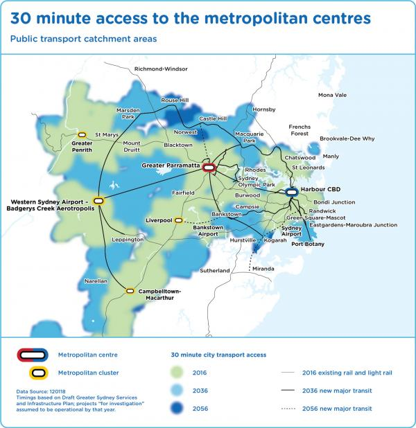 Figure 26: Areas accessible within 30 minutes by public transport in Greater Sydney – 2016, 2036 and 2056