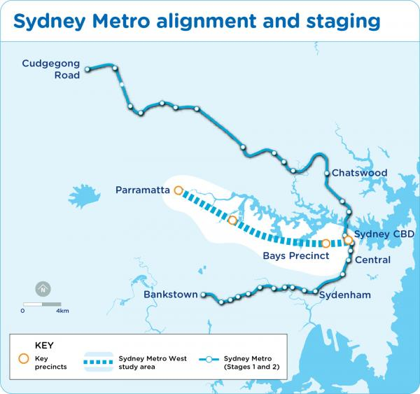 Figure 31: Sydney Metro alignment and staging