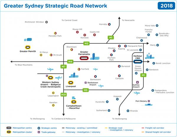Figure 52 Greater Sydney Road Network 2018 (existing and committed)