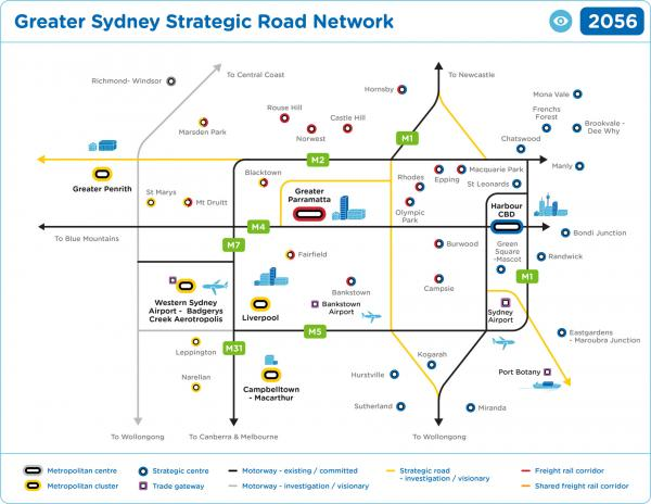 Figure 53 Greater Sydney Road Network 2056 (visionary)