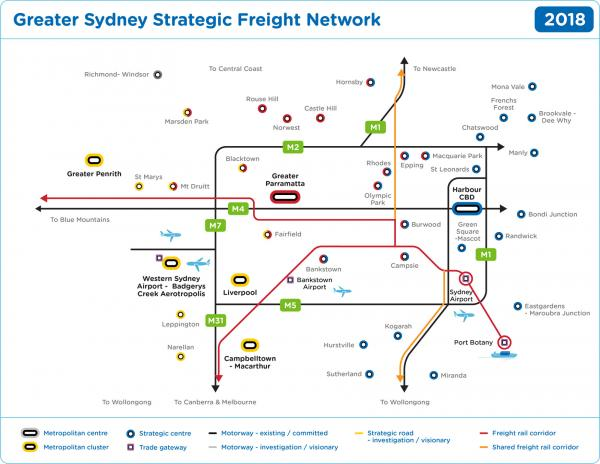 Figure 56 Greater Sydney strategic freight network (existing and current)