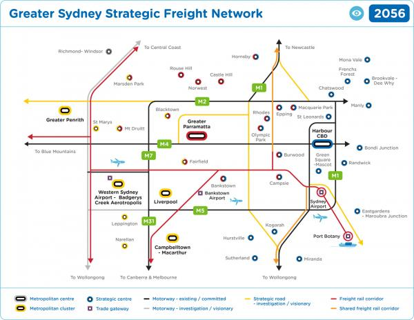 Figure 57 Greater Sydney strategic freight network (visionary)