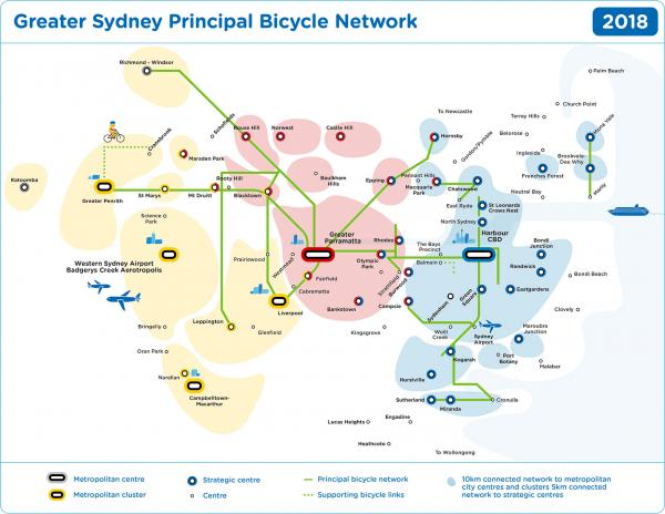 Figure 58 Growing Sydney's bicycle network (committed and existing)