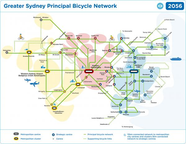 Figure 59 Growing Sydney's bicycle network (visionary)