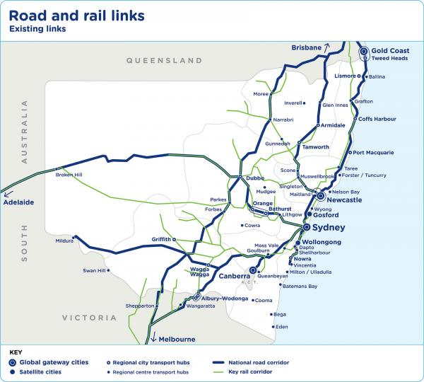 Figure 66 Regional NSW current road and rail links