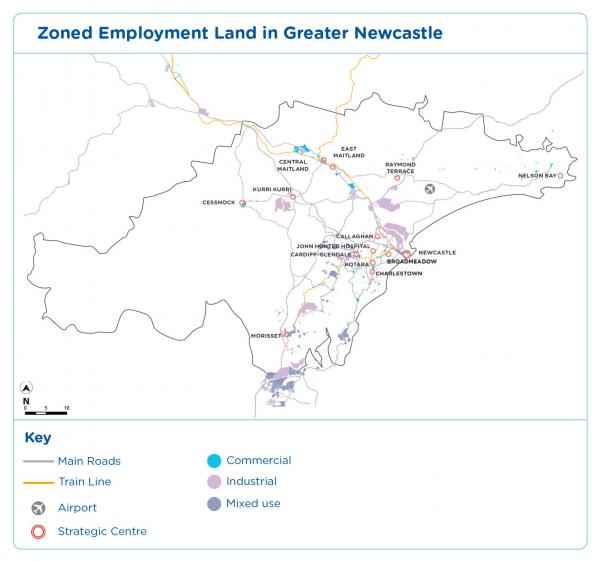 Figure 11 Zoned employment land in Greater Newcastle