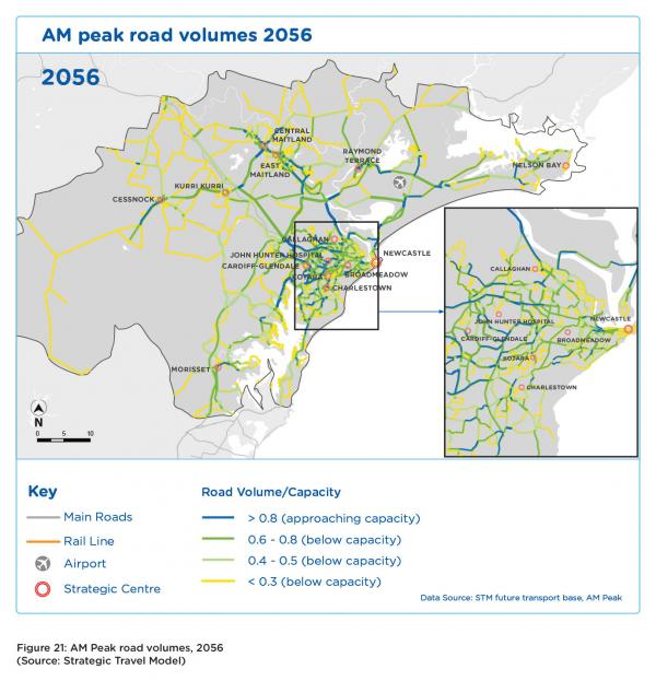 Figure 21 AM peak road volumes 2056