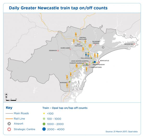 Figure 24 Daily Greater Newcastle train tap on/off counts march 2017, Opal data