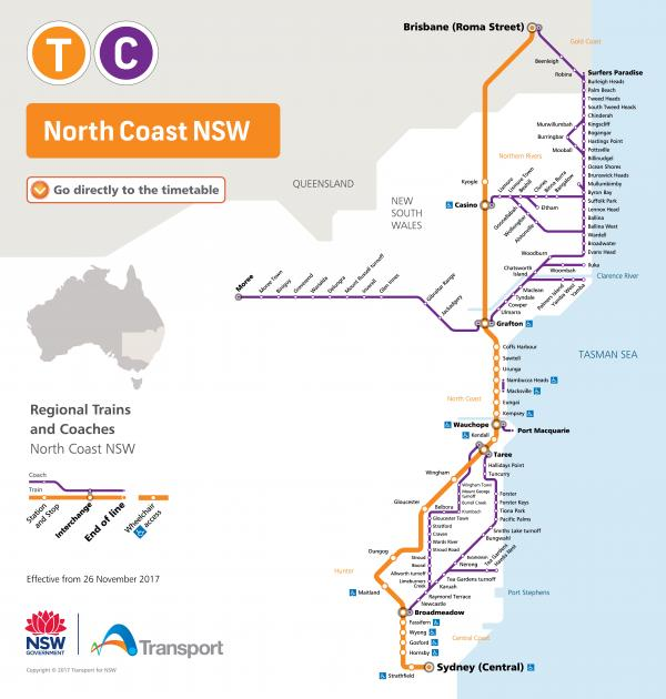 Figure 26 NSW Trainlink North Coast network map