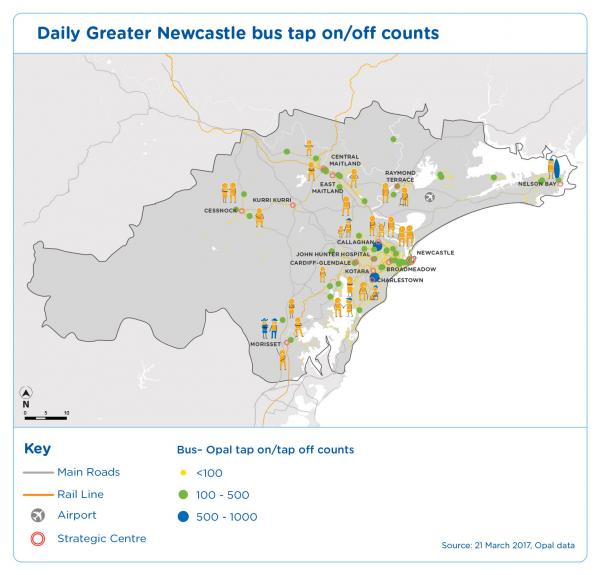 Figure 28 Daily Greater Newcastle bus tap on off counts March 2017, Opal data