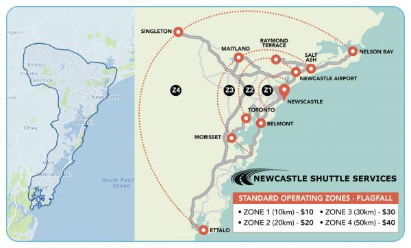 Figure 32 On demand ride sharing Newcastle shuttle service