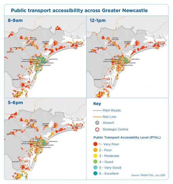 Figure 33 Public transport accessibility across Greater Newcastle 2015