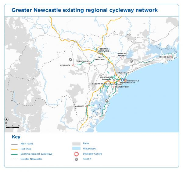 Figure 34 Greater Newcastle existing cycleway network