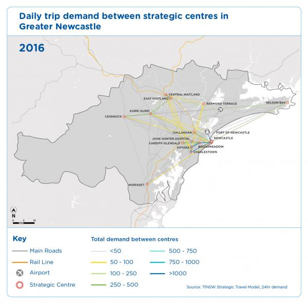 Figure 36 Daily trip demand between strategic centres in Greater Newcastle 2016
