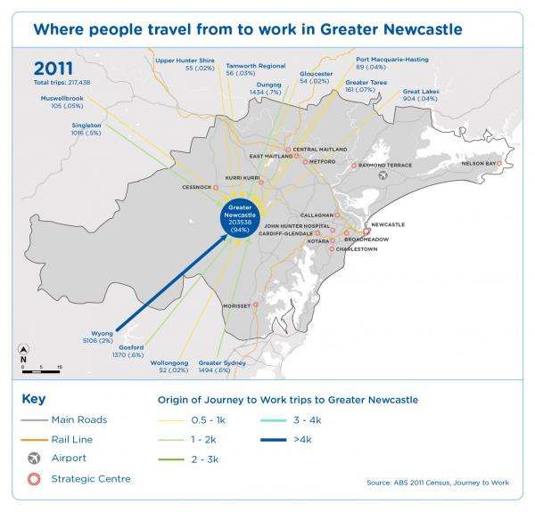 Figure 38 Where people travel from to work in Greater Newcastle