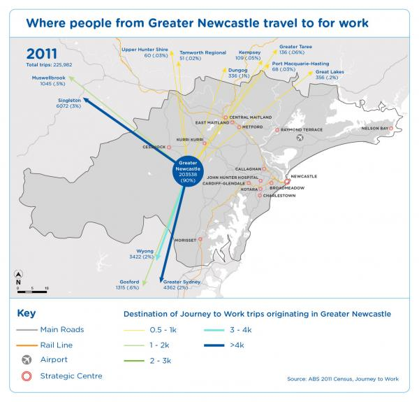 Figure 39 Where people from Greater Newcastle travel to for work