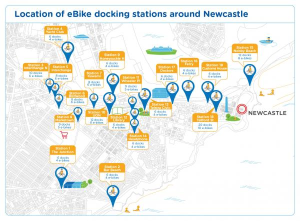 Figure 48 location of eBike docking stations around Newcastle
