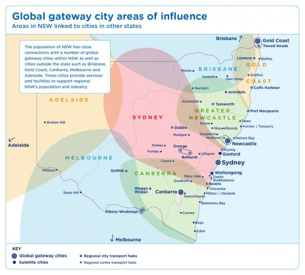 Figure 6 Global gateway Cities in NSW and there areas of influence