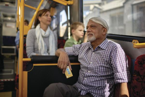 older man on bus