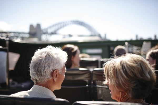 Older couple sitting on ferry