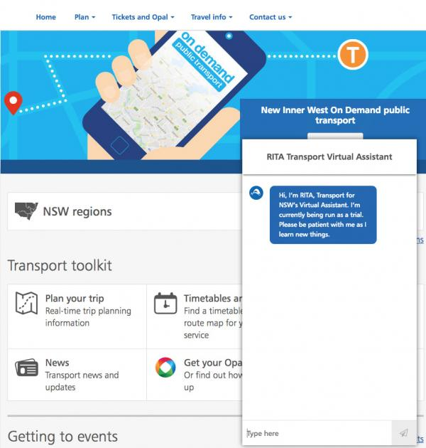 Figure 12: The RITA Transport Virtual Assistant on the transportnsw.info website