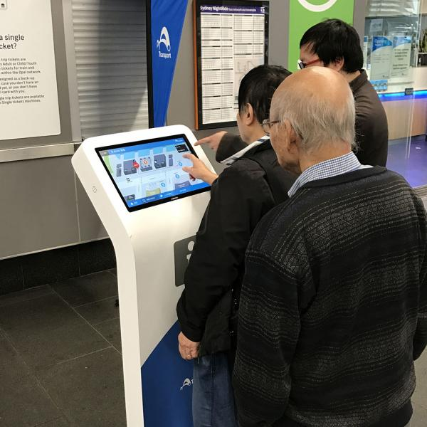 Figure 14: Touch screen kiosk under trial at Circular Quay