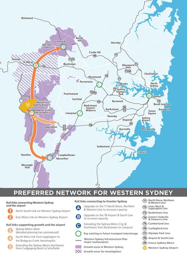 Figure 21: Future Western Sydney rail links under investigation
